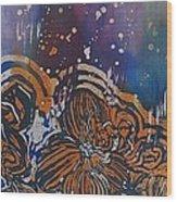 Graceful Wild Orchids In Blue/orange Wood Print