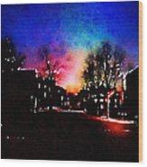 Graduate Housing Princeton University Nightscape Wood Print