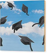 Graduation Mortar Boards Wood Print