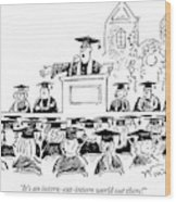 Graduation Speaker Addressing Graduates Seated Wood Print