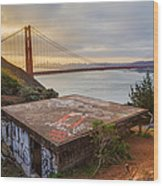 Graffiti By The Golden Gate Bridge Wood Print by Sarit Sotangkur