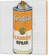 Graffiti Carrot Spray Can Wood Print