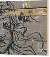 Graffiti Girl Wood Print