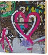Graffiti Heart Wood Print by Victoria Herrera