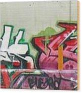 Graffiti Hot Red Hot Pink Wood Print