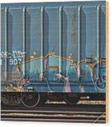 Graffiti - Ich - Blue On Blue Wood Print