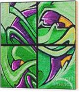 Graffiti In Green Wood Print