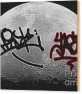 Graffiti On The Moon Wood Print