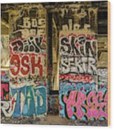 Graffiti On The Walls, Tenth Street Wood Print