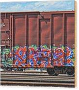 Graffiti - Orange Pop Wood Print