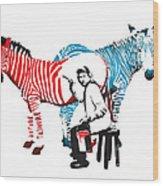 Graffiti Print Of Rembrandt Painting Stripes Zebra Painter Wood Print