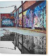 Graffiti Reflection Wood Print