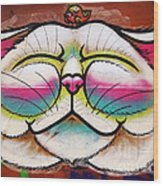 Graffiti Smiling Cat With Bird Wood Print