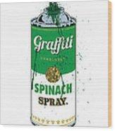 Graffiti Spinach Spray Can Wood Print