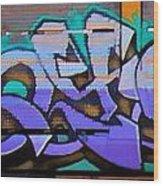 Graffiti Tangled Purple Wood Print