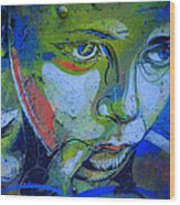 Graffiti Thoughtful Child Wood Print by Victoria Herrera