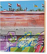 Graffiti With Flags Wood Print