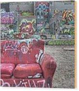 Grafitti Couch Wood Print