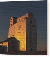 Sunset Grain Elevator At Meadows Wood Print by Steve Boyko