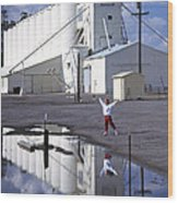 Grain Elevators And Child Wood Print