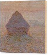 Grainstack  Sun In The Mist Wood Print