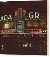 Night Lights Granada Theater Wood Print
