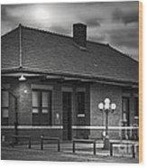 Train Depot At Night - Noir Wood Print