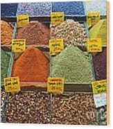 Grand Bazaar Spices In Istanbul Wood Print