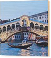 Grand Canal And Rialto Bridge At Dusk - Venice Wood Print