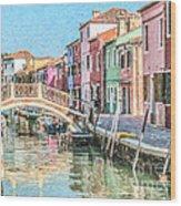 Grand Canal Burano  Venice Wood Print