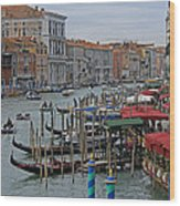 Grand Canal From Rialto Bridge Wood Print