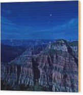 Grand Canyon In Moonlight Wood Print