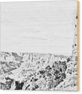 Grand Canyon National Park Mary Colter Designed Desert View Watchtower Black And White Line Art Wood Print