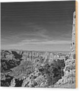 Grand Canyon National Park Mary Colter Designed Desert View Watchtower Near Sunset Black And White Wood Print