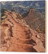 Grand Canyon South Kaibab Trail And Oneill Butte Vertical Wood Print