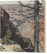Grand Canyon View Weathered Tree Right Side  Wood Print