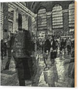 Grand Central Abstract In Black And White Wood Print
