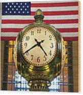 Grand Central Clock Wood Print