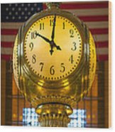 Grand Central Clock Wood Print