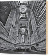 Grand Central Corridor Bw Wood Print