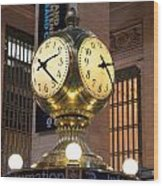 Grand Central Station Clock Wood Print