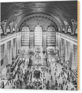 Grand Central Terminal Birds Eye View Bw Wood Print