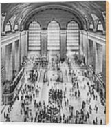 Grand Central Terminal Birds Eye View I Bw Wood Print