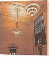 Grand Central Terminal Chandeliers Wood Print