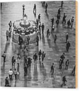 Grand Central Terminal Clock Birds Eye View II Bw Wood Print