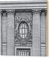 Grand Central Terminal Facade Bw Wood Print