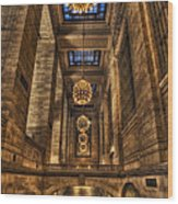 Grand Central Terminal Station Chandeliers Wood Print
