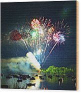 Grand Finale Over The Lake Wood Print