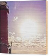 Grand Haven Lighthouse At Sunset Wood Print