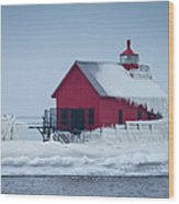 Grand Haven Lighthouse Encased In Ice Wood Print